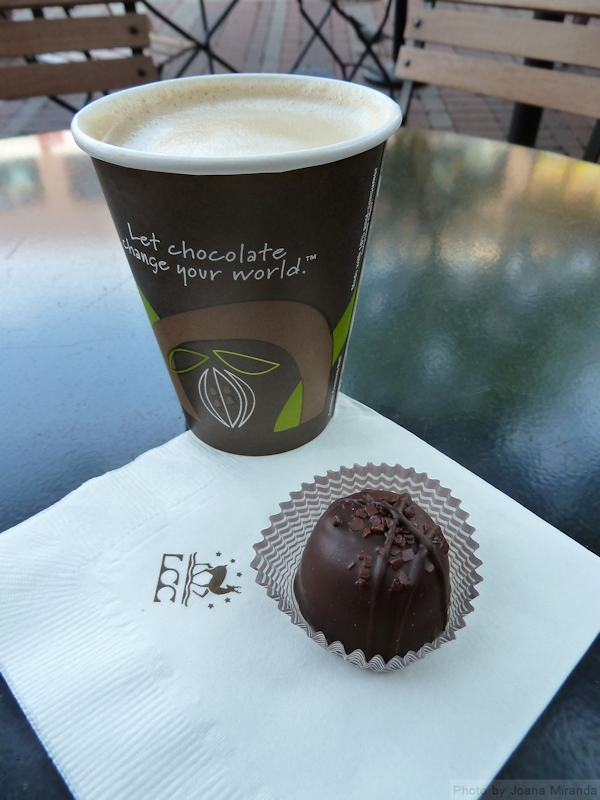 Photo of Espresso Chocolate Truffle and coffee from Lake Champlain Chocolate store in Burlington, VT. Photo by Joana Miranda