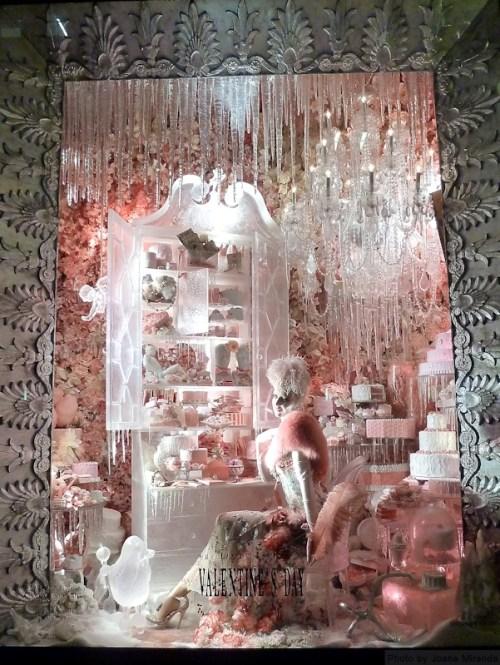Pink window at 2013 Bergdorf Goodman's Xmas window display