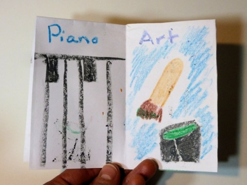 Piano and Art pages of Anna's birthday book