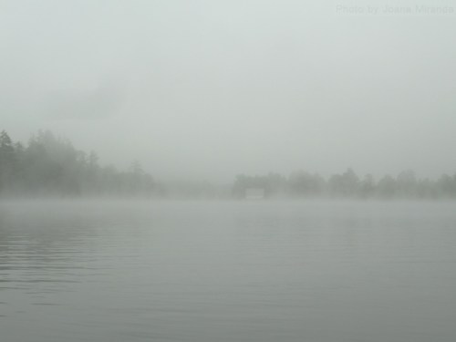 house at the dam in the fog