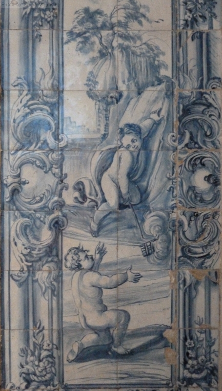 angels in blue and white tiles