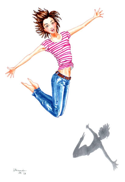 Illustration of girl jumping for joy, by Joana Miranda