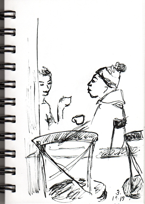 couple talking in a cafe