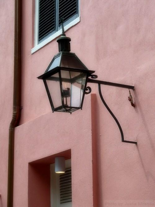 Lantern on pink wall