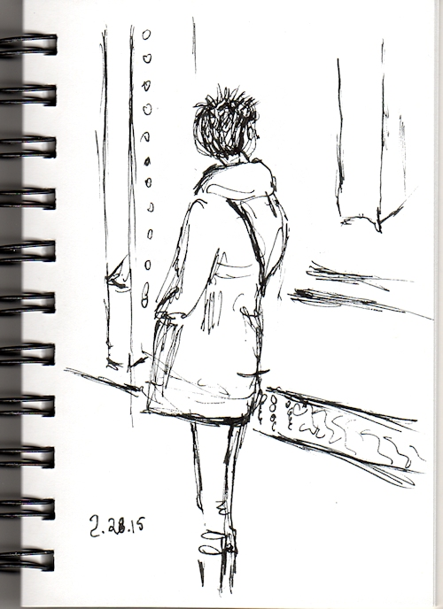 woman waiting for the subway