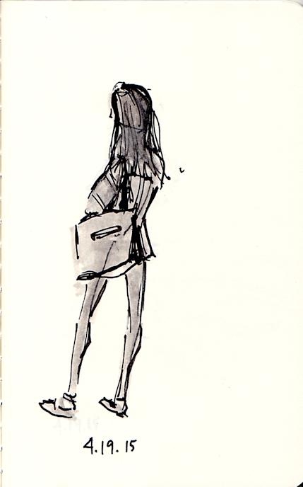 girl waiting for subway
