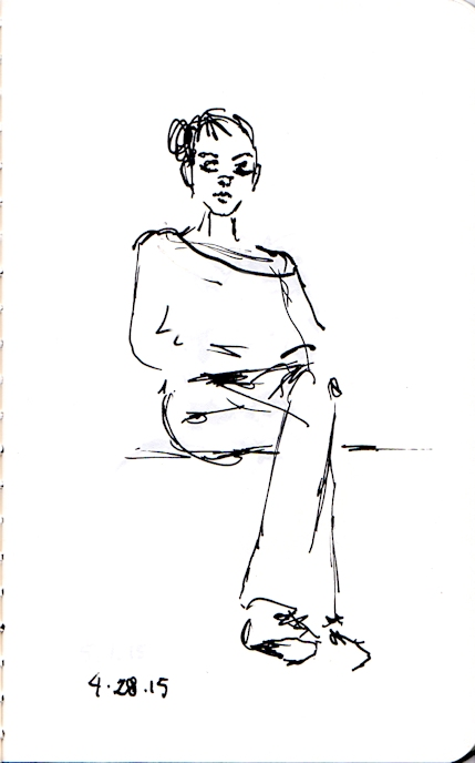 ink sketch of woman sitting in the subway