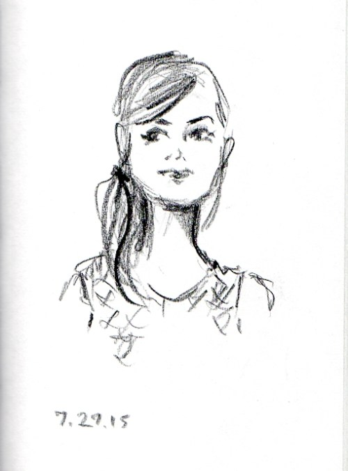 Sketch of girl in knit tank top