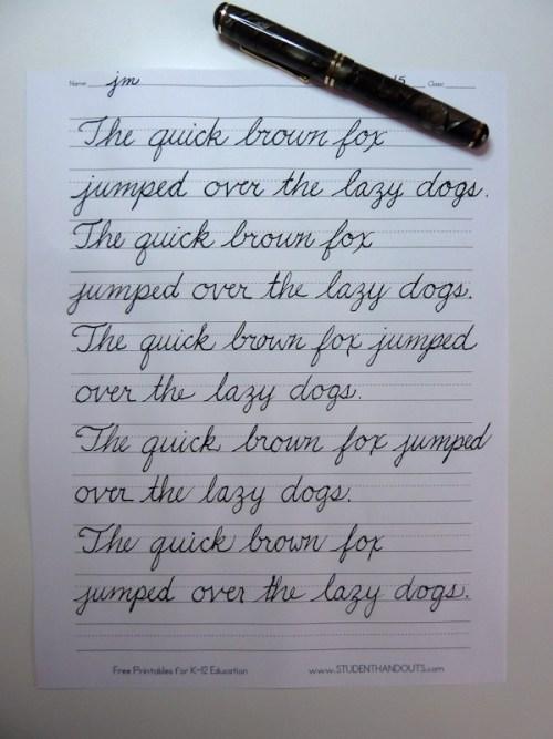 cursive sentence writing