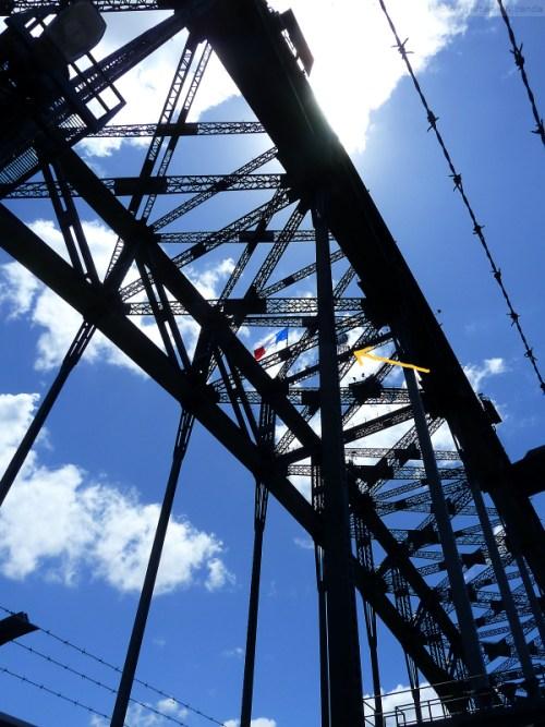 Sydney Harbor bridge walkers as seen from below