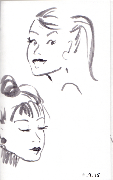 Two three quarter head sketches