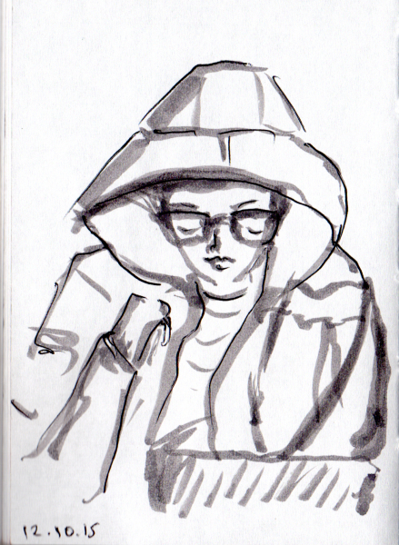 Quick sketch of woman with hooded parka