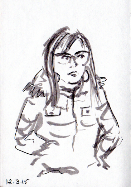 Sketch of alert woman on the subway