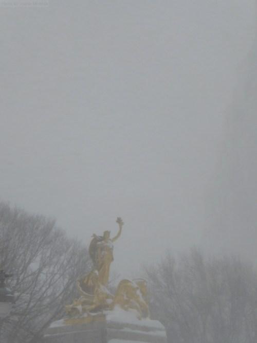 Columbus Circle statue during Storm Jonas