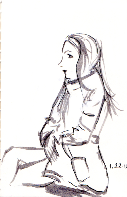 Quick sketch of woman in short parka