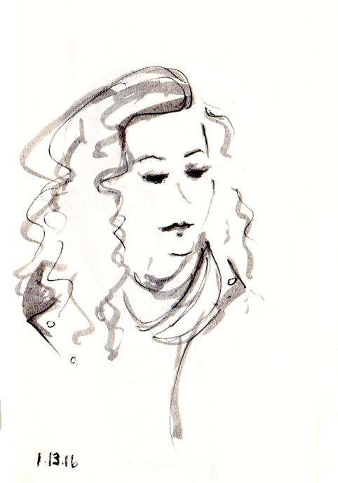 Quick sketch of woman with wavy hair