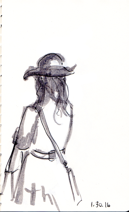 Quick sketch of woman in hat