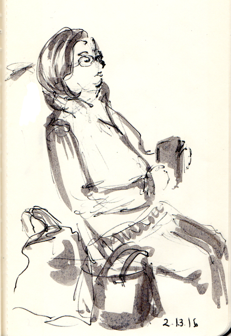 Quick sketch of woman reading on NJ Transit