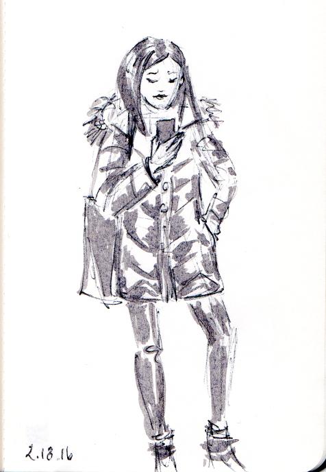 Quick sketch of young Asian woman wearing puffer coat