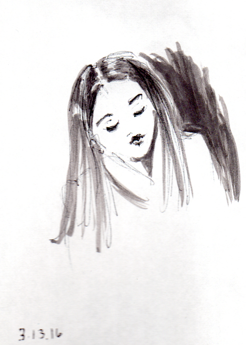 Quick sketch of young girl with straight hair