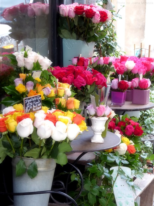 Assorted roses in a flower shop display in Paris