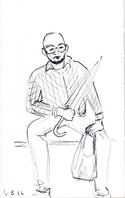 Quick pen sketch of man with umbrella