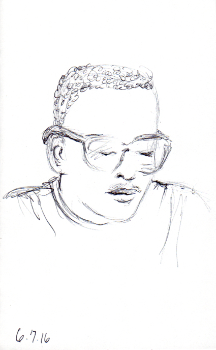 Sketch of young African American man