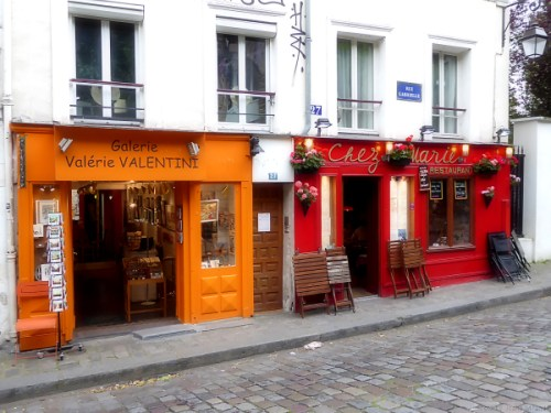Colorful cafes in Montmartre
