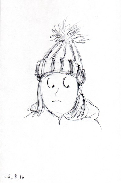 quick-sketch-of-woman-with-tall-knit-cap