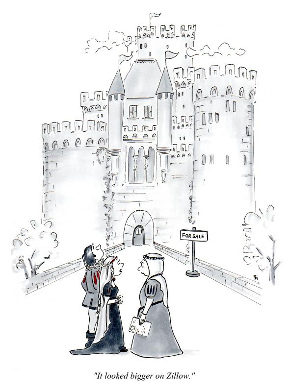 castle real estate cartoon by Joana Miranda