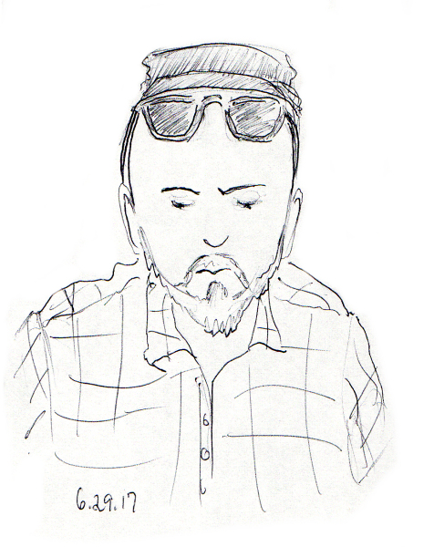 Quick sketch of bald man with beard, hat and sunglasses by Joana Miranda