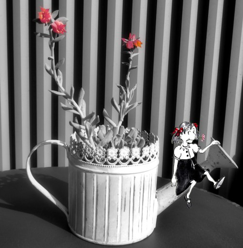 Black and white photo with color accents and little carton girl, photo and cartoon by Joana Miranda