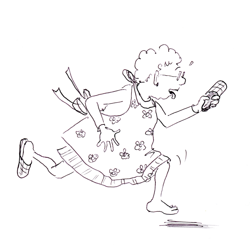 Funny illustration of cleaning lady running while brandishing her shoe, by Joana Miranda