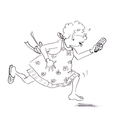 Funny cartoon illustration of old lady running, by Joana Miranda