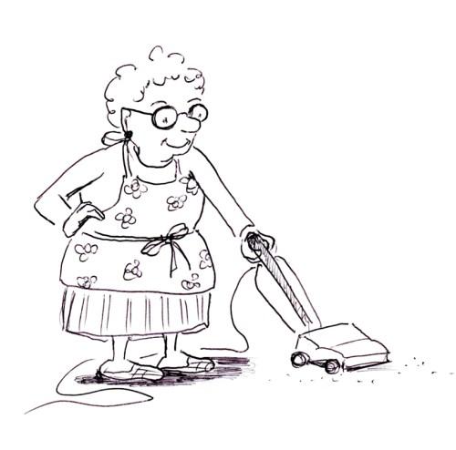 Funny cartoon illustration of old lady with a vacuum, by Joana Miranda