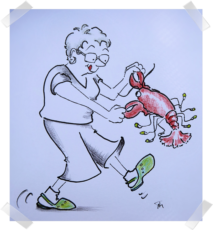 Cartoon of woman dancing with a lobster by Joana Miranda