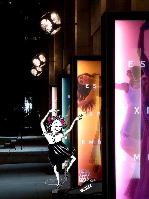 Photo and illustration of little girl dancing outside the Koch Theater at Lincoln Center, by Joana Miranda