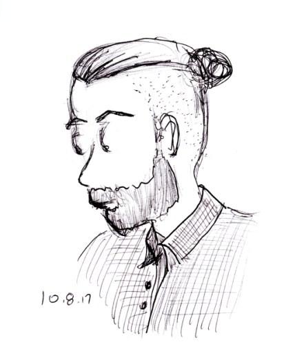 Quick pen portrait sketch of young man sporting man bun, by Joana Miranda