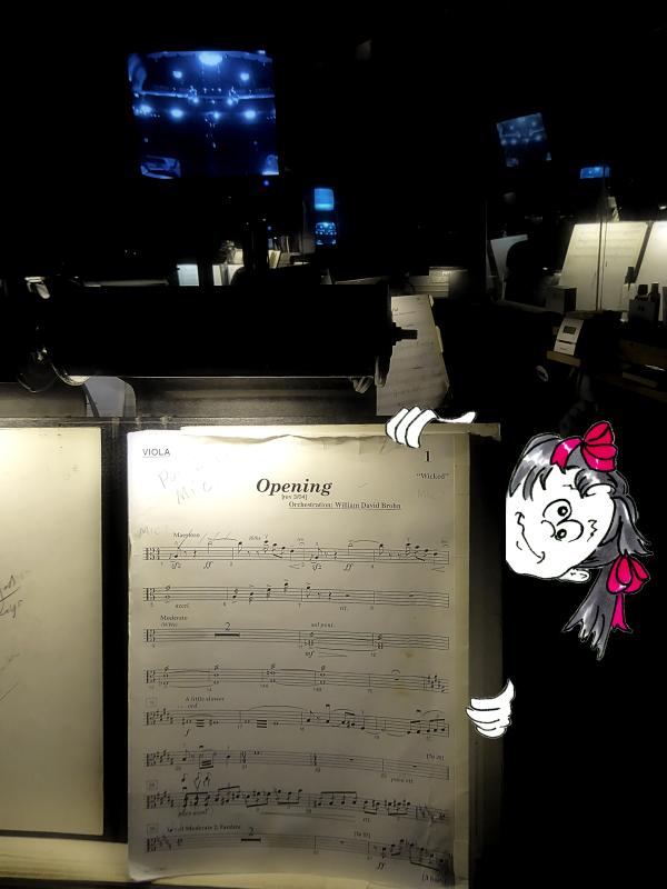 Funny girl cartoon peering around a music stand by Joana Miranda