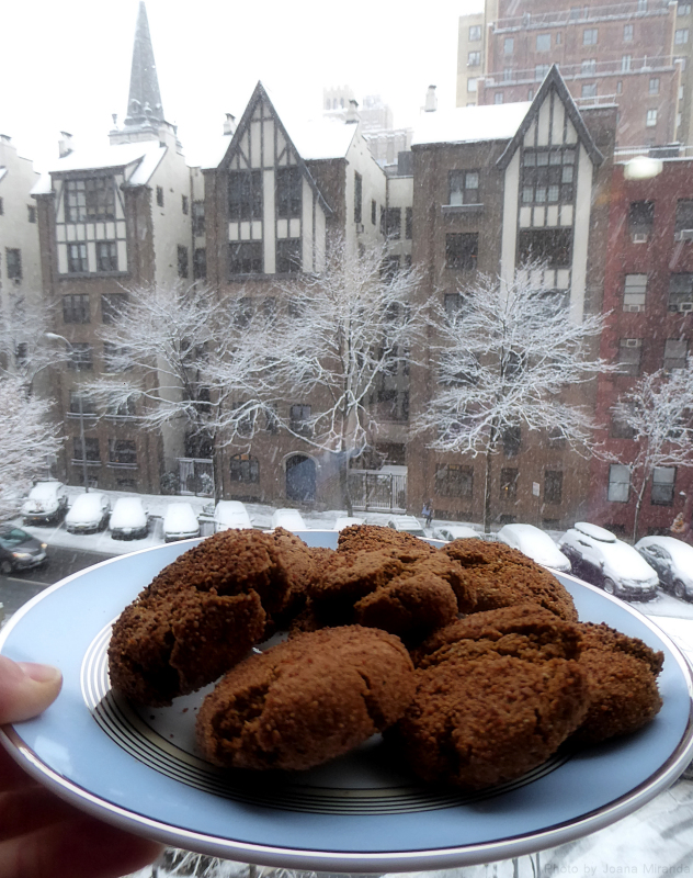 Photo of homemade Paleo Ginger Snap cookies against a snowy backdrop, taken by Joana Miranda