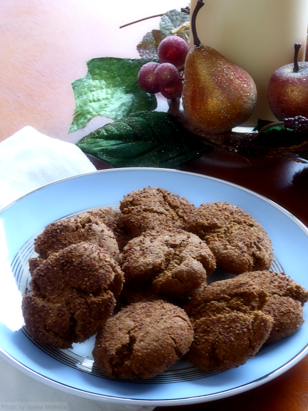Photo of homemade Paleo Gingersnap cookies on a blue plate, taken by Joana Miranda