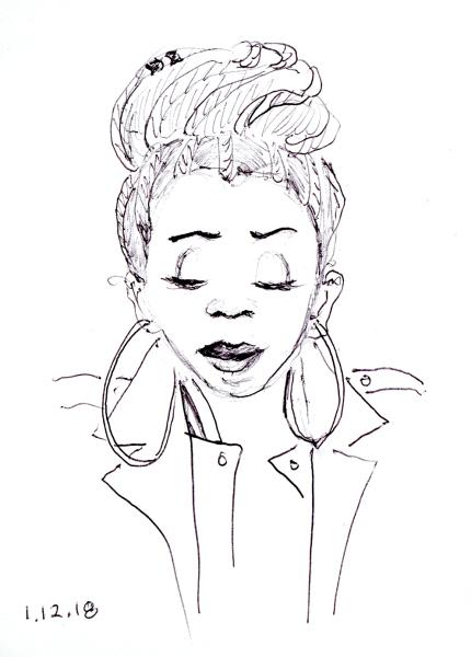 Quick ballpoint pen sketch of woman with elaborate braided updo, by Joana Miranda