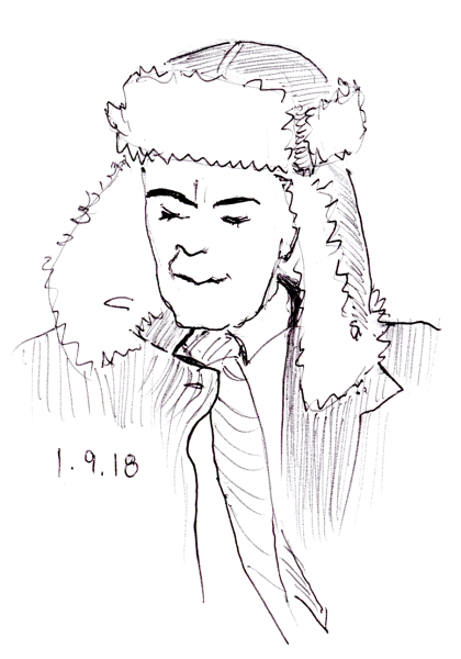 Quick ballpoint pen sketch of man with ear flap hat, by Joana Miranda