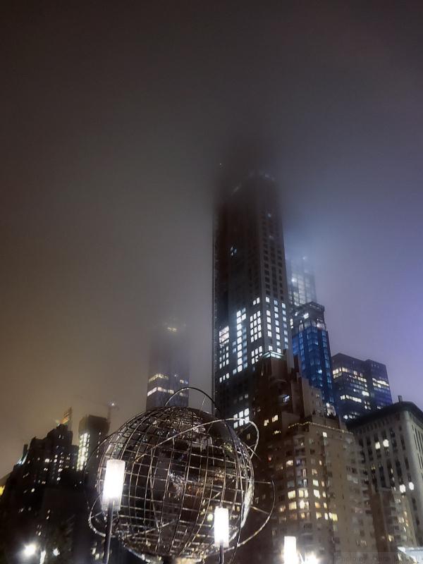 Columbus Circle on a foggy night