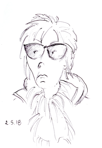 Funny quick ballpoint sketch of woman with dark glasses and spikey hair, by Joana Miranda