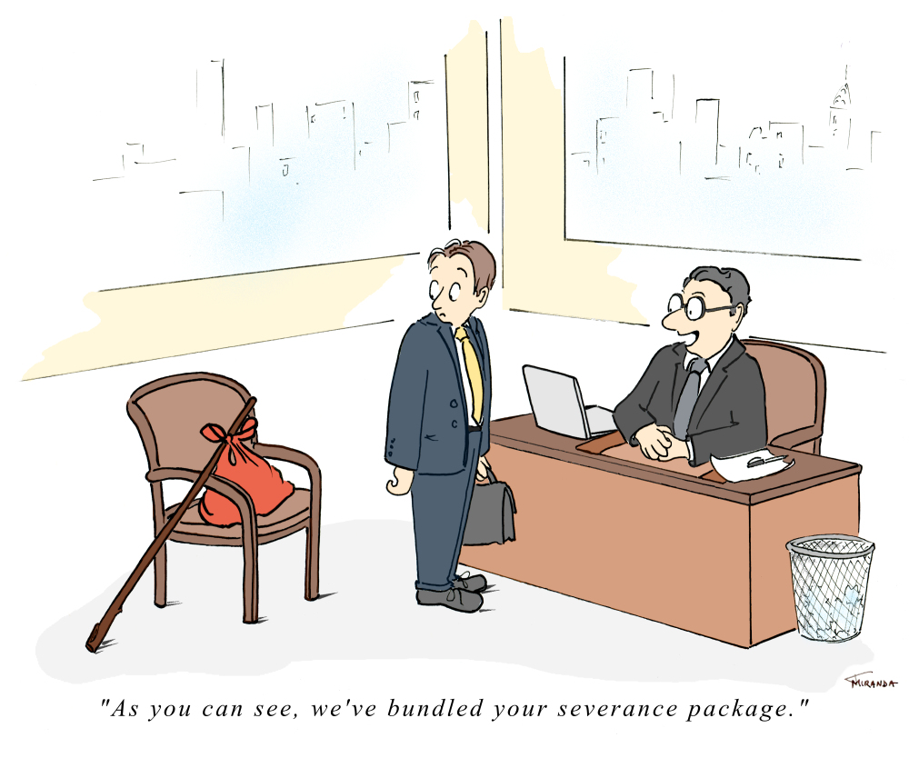 Single Panel Cartoon Bundled Severance Package for American Legion Magazine by Joana Miranda