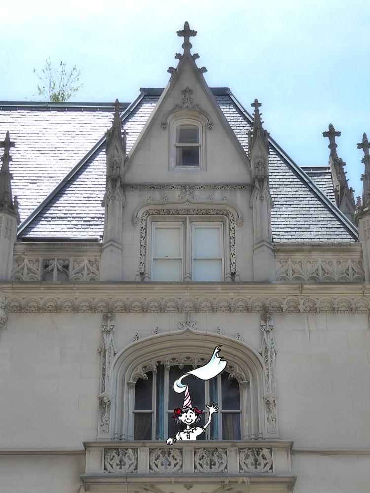 Photo of Upper East Side manor house with little Jo cartoon girl on 5th Avenue, taken by Joana Miranda