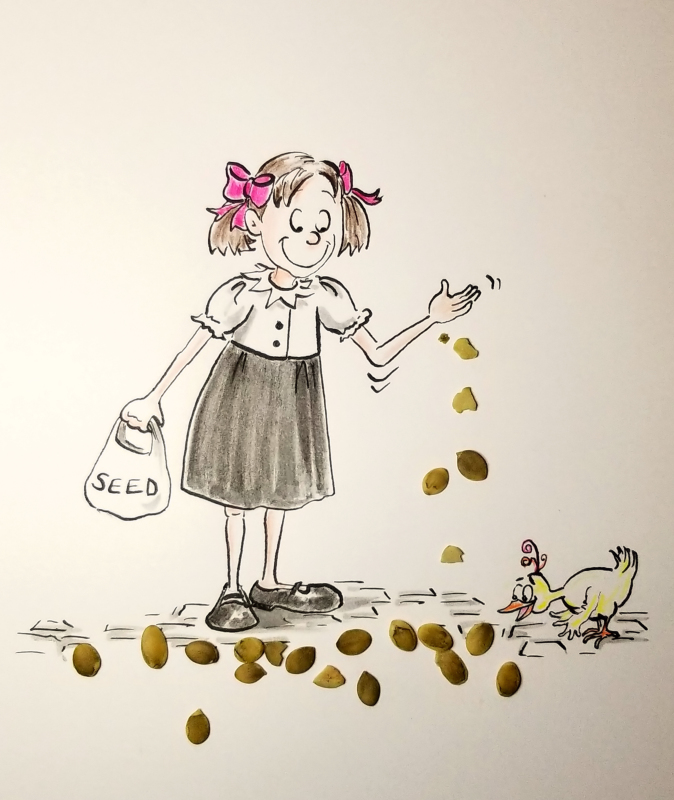 Cartoon illustration of little girl feeding bird, by Joana Miranda