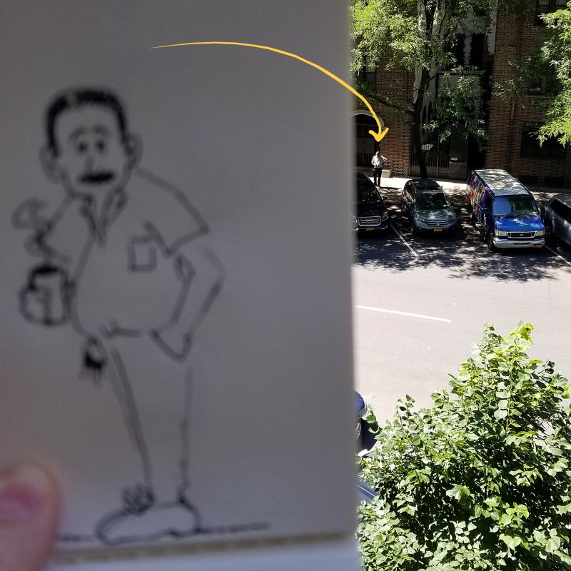 Cartoon handyman sketch alongside photo of subject, by Joana Miranda