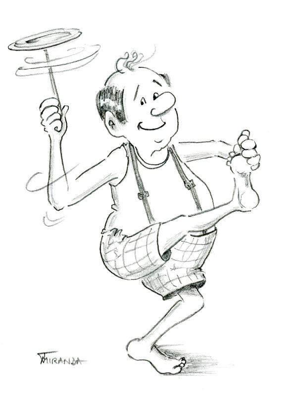 Pencil drawing of cartoon clown man spinning a plate by Joana Miranda